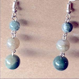 3/$15❗️925 Sterling Silver Moss Agate Earrings